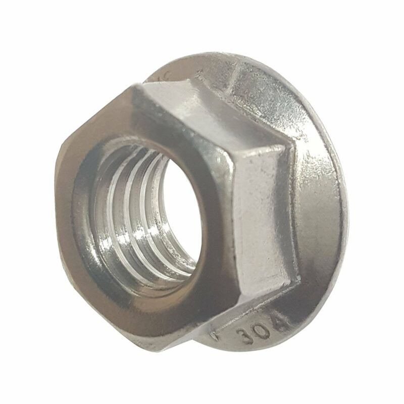 1/4-20 Stainless Steel Flange Nuts Serrated Base Lock Anti Vibration Qty 25