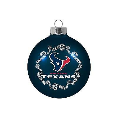 Houston Texans Large Glass Ball & Candy Cane Christmas Tree Ornament - NEW! (Houston Texans Candy)