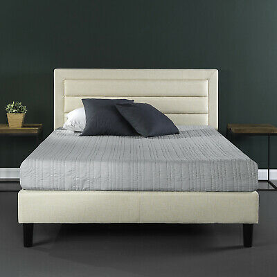 Full Queen King Size Platform Bed Frame Upholstered with Woo