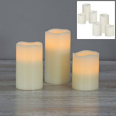 6PC WHITE FLICKERING FLAME LED FLAMELESS REAL WAX MOOD CANDLES WITH BATTERIES