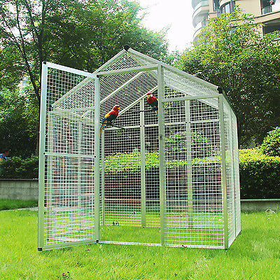 Huge Heavy Duty Walk-in Bird Aviary Cage Parrot Macaw Flight Playtop Cage New