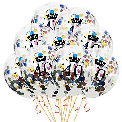 40 Geburtstag Ballons (Konfetti Luftballon Set für 40. Geburtstag Feier Party Ballons 10 Stück bunt)