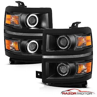 [Dual LED Halo] 2014 2015 Chevy Silverado 1500 Black Projector Headlights Pair