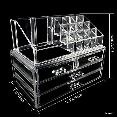 Clear Acrylic Jewelry Makeup Cosmetic Organizer Holder Storage 9 x 6 x 7 2-piece