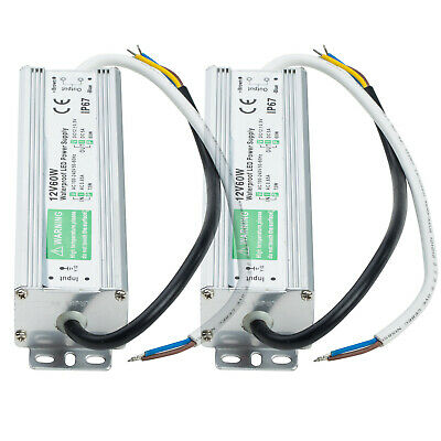 2x Ac-dc 12v 5a Transformer Power Supply Adapter Led Driver Ip67 Waterproof 60w
