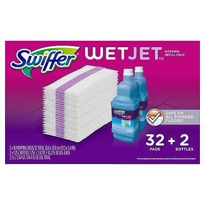 Pad Refill Pack (Swiffer Wetjet Mopping Refill Pack(32 Pads plus 2 Bottles of Cleaner 1.25L)
