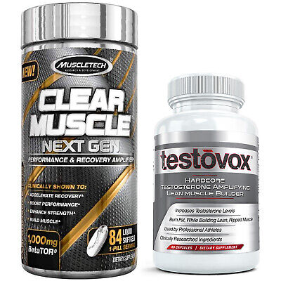 Clear Muscle + Testovox HARDCORE, Testosterone Boosting Supplement Stack-10/2020