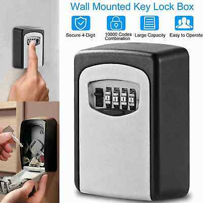 Key Storage Box Outdoor High Security Wall Mounted Safe Code Secure Lock 4-digit