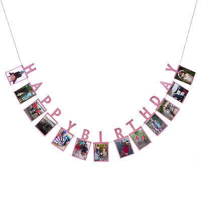 Happy Birthday Girlande für eigene Fotos Mädchen Kinder Geburtstag Deko Rosa