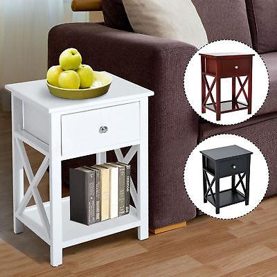 Wooden End Side Bedside Table Nightstand Bedroom Decor w/ Drawer & Bottom Shelf