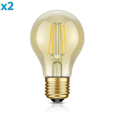 Warm Amber Glas (E27 LED Leuchtmittel Glühfaden Vintage amber A60 4W =40W extra-warm-weiß 400lm A)