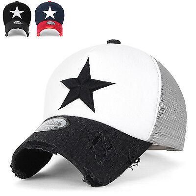 ililily Star Embroidery Black White Trucker Hat Adjustable Cotton Baseball (Black And White Trucker Hat)