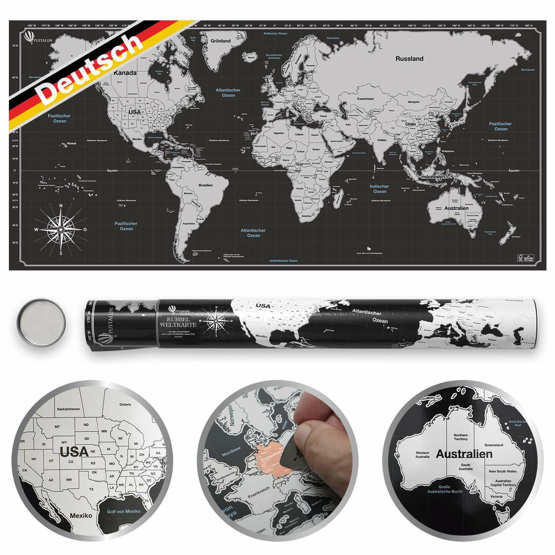 Pustalon Weltkarte Zum Rubbeln in Deutsch Rubbel Weltkarte Rubbelkarte Landkarte
