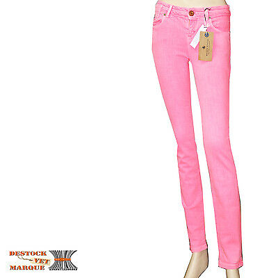 4b16f2028c86c9 MAISON SCOTCH jeans slim stretch rose fluo SKINNY LA PARISIENNE femme