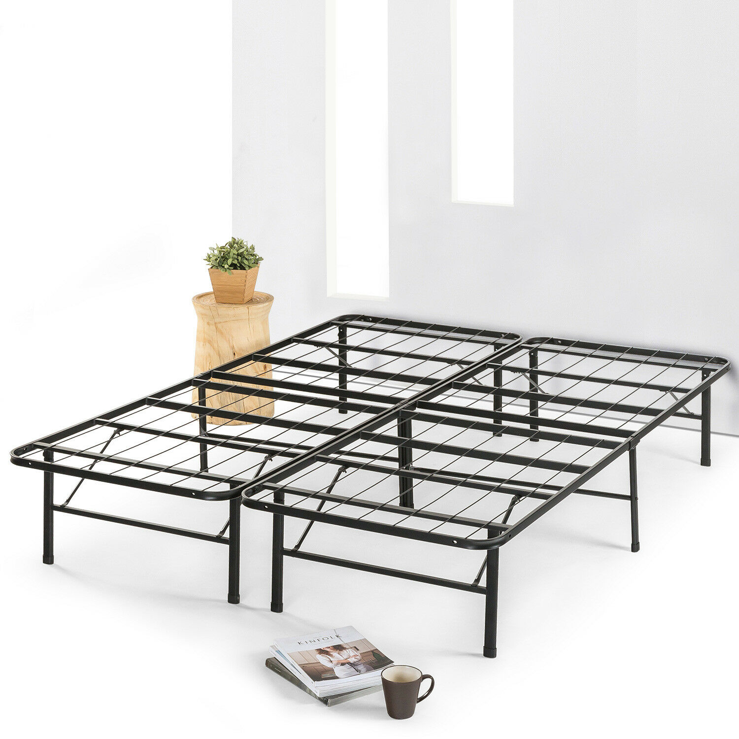 "14"" Metal Bed Frame Mattress Foundation Extra Sturdy Steel S"