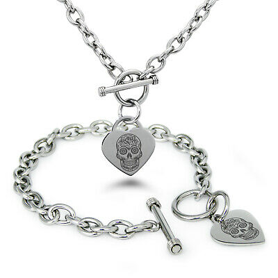 Stainless Steel Day of the Dead Sugar Skull Heart Charm Bracelet, Necklace, - Day Of The Dead Jewelry