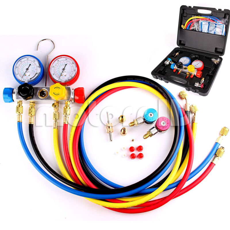 4 Way AC Diagnostic Manifold Gauge Set for Air Conditioner R22 R410A R134A 5FT