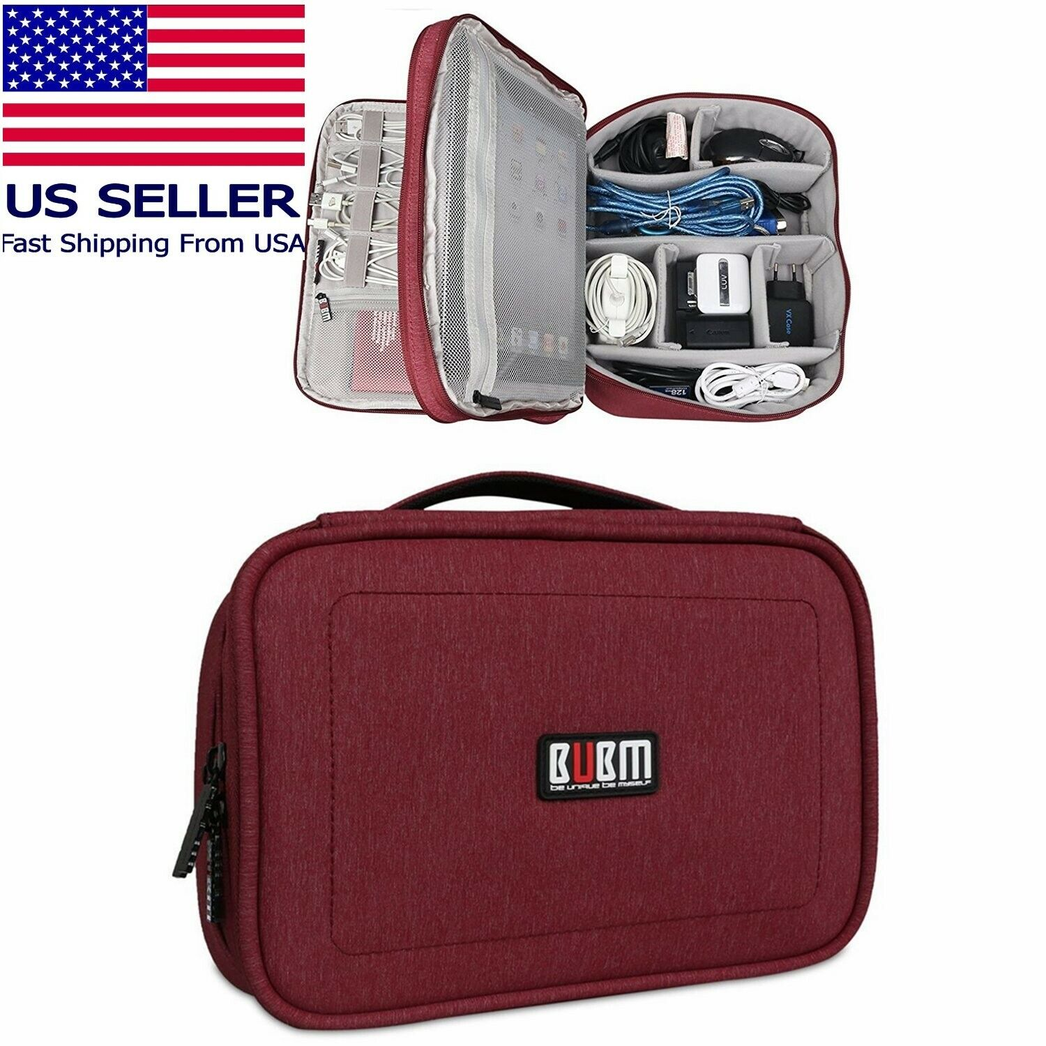 BUBM Portable Electronics Organizer, Double Layered Carry Case Red 10″ for Ipad Other Travel Accessories