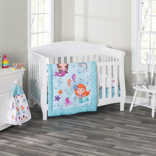 Everyday Kids 3 Piece Girls Crib Bedding Set, Mermaid Advent