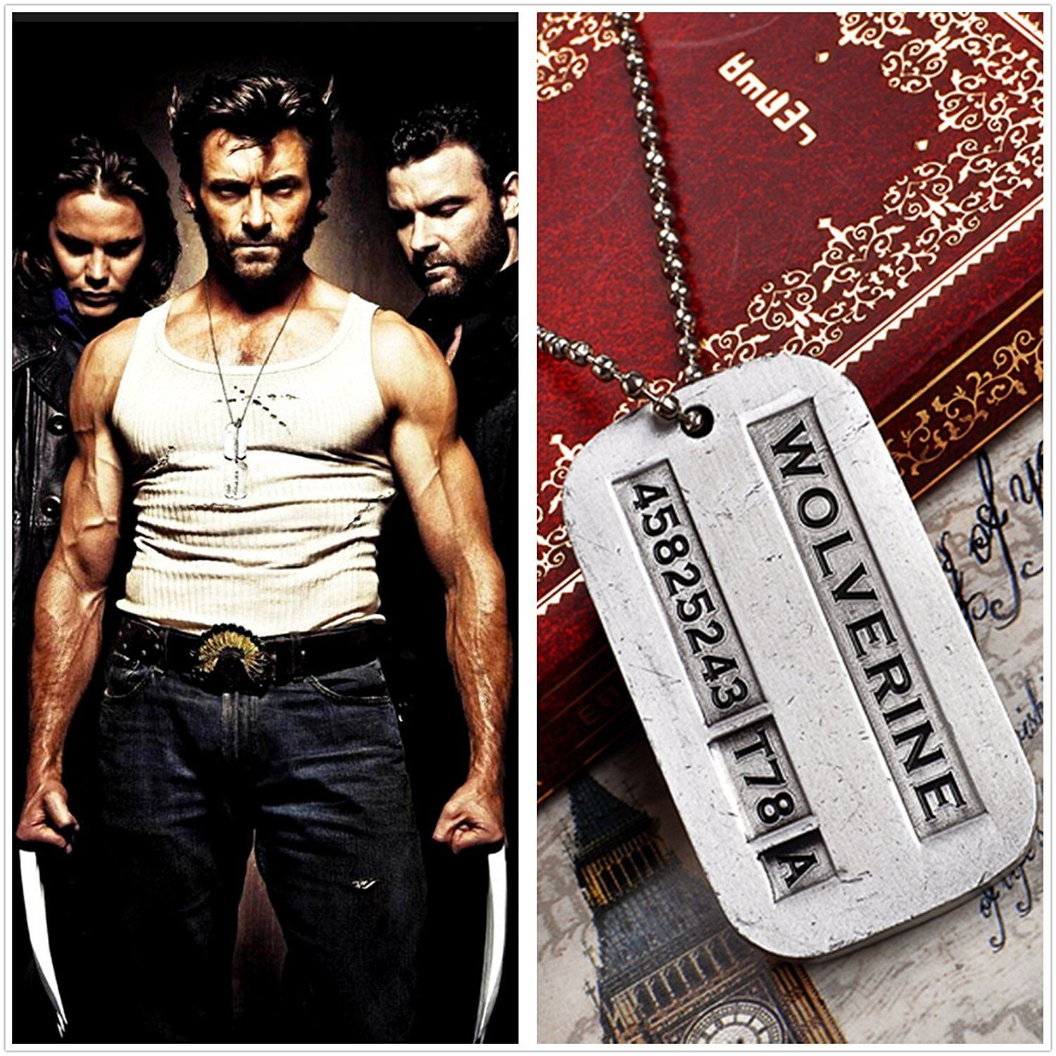 Wolverine X-Men Logan Metal Pendant Dog Tag Necklace with ch