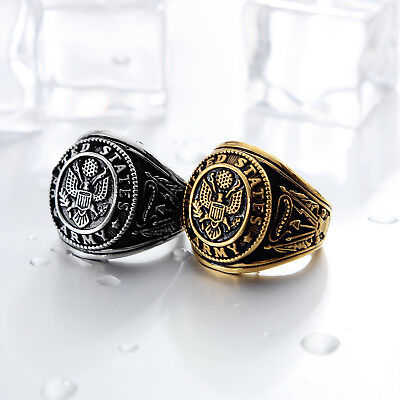 - Army Ring Stainless Steel Ring  Silver or Gold US Military