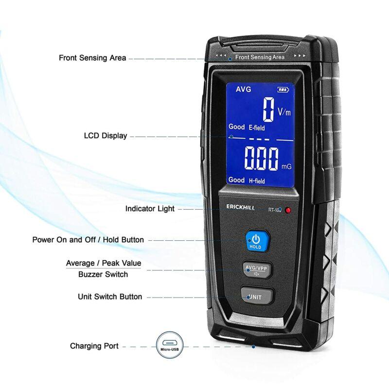 ERICKHILL Digital Electromagnetic Radiation Detector EMF Meter LCD Display-RT100
