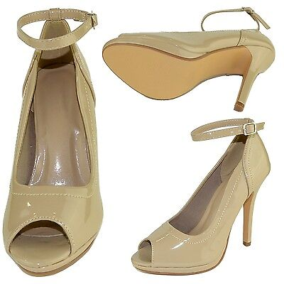 Womens Peep Toe Stiletto High Heel Pumps w/ Ankle Strap Taupe Size 5.5-10 - Taupe High Heel Peep Toe