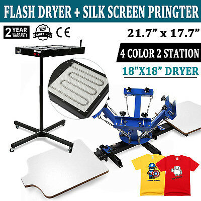 4 Color Screen Printing Press Kit Machine 2 Station Silk Screening Flash Dryer - Screen Printing Kit