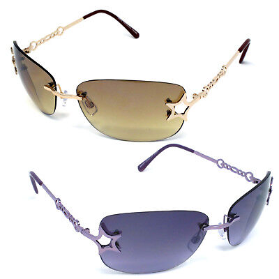 Womens Eyewear Rimless Star Sunglasses Shades Fashion Wrap Retro Around - Sunglasses Star