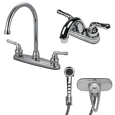 RV/Mobile Home Kitchen and Lav Faucet Combo with Shower Head Diverter, Chrome eBay Motors