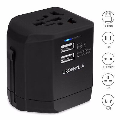 Travel Adapter,Urophylla Universal Adapter and Charger With Dual 2.5A Usb Ports