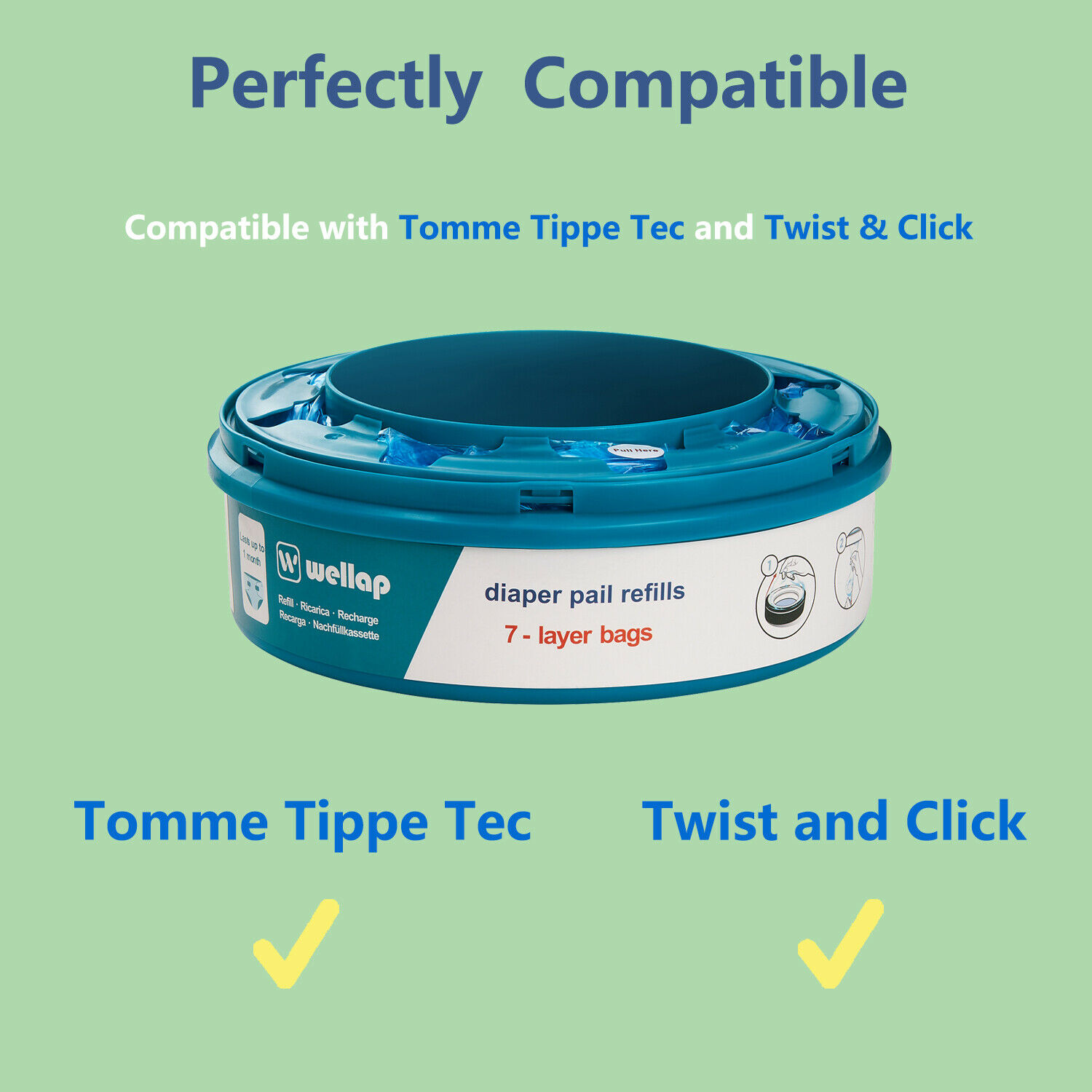 SANGENIC TOMMEE TIPPEE 8 RICARICHE TWIST & CLICK e TEC