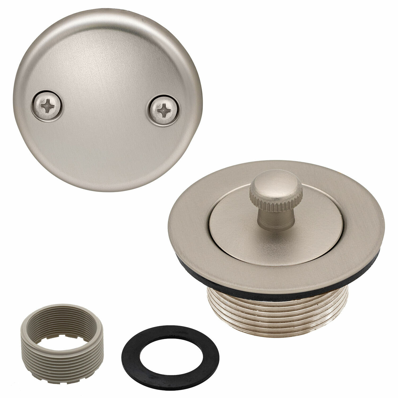 Lift and Turn Bathtub Replacement Tub Drain Overflow Cover Kit, Satin Nickel Bath