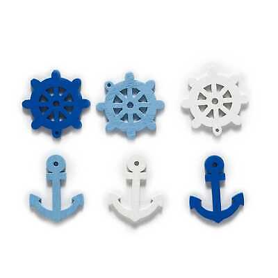 50pcs Anchor Steering Theme Wood buttons for Sewing Scrapbooking Cloth Decor (Anchor Theme)