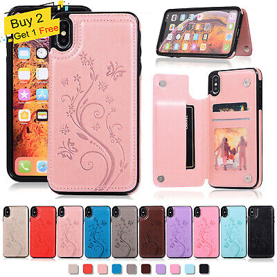For iPhone 7 8 Plus XS Max XR 6S WOMEN Leather Card Holder Wallet Flip Back Case