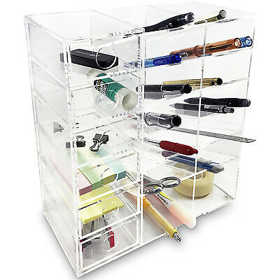 Acrylic 6-shelf Office Supply Organizer Storage Drawer Case