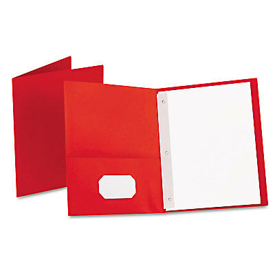 Oxford Twin-pocket Folders With 3 Fasteners Letter 12 Capacity Red 25box