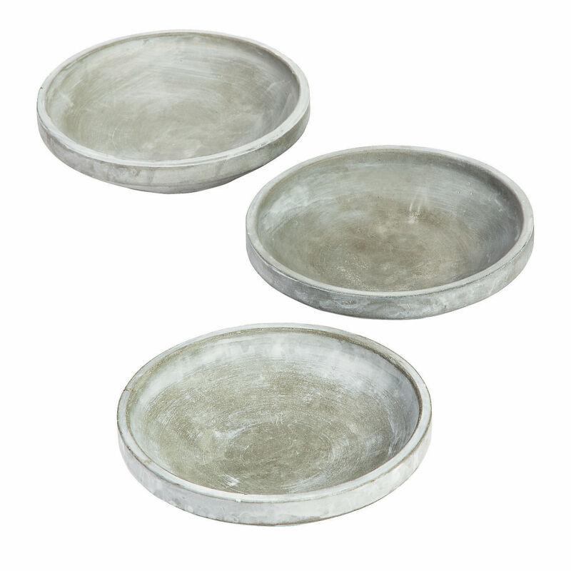 Grey Ceramic Centerpiece Trays - Home Decor - 3 Pieces