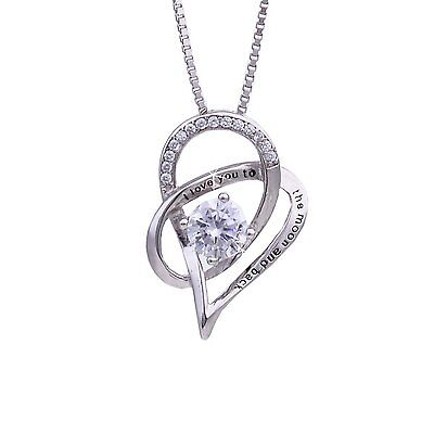 $13.43 - Jewelry 925 Sterling Silver Love Heart Pendant Necklace Chain Women Fashion New
