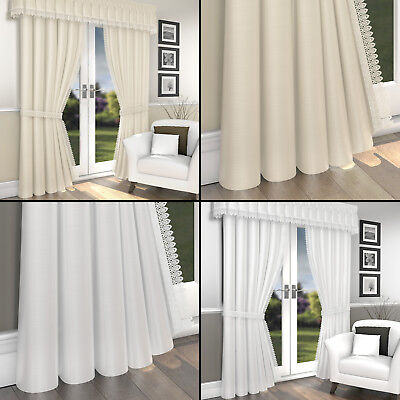 MACRAME LACE LINED VOILE READY MADE CURTAINS PENCIL PLEAT TAPE TOP WHITE CREAM