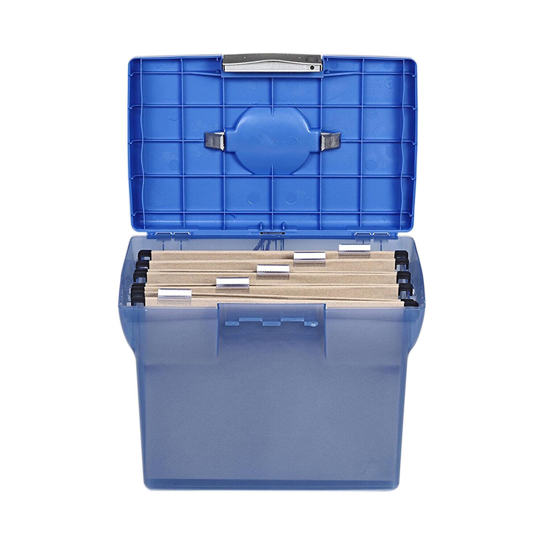Premium Ablagebox Hängemappenbox Aktenbox Archivbox (aus Kunststoff, A4), blau