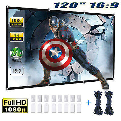 """120"""" 16:9 HD Projector Projection Screen Home Theater Movie Cinema Outdoor US"""