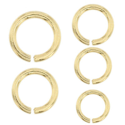 14K Solid Yellow Gold Jump Ring Round Open 2.5mm - 6mm Chain End 1 Piece USA