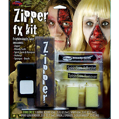 Halloween Zipper Face Scary Kit Zip Bloody Fake Scab Special FX Makeup FancyDres](Scary Halloween Zip Face)