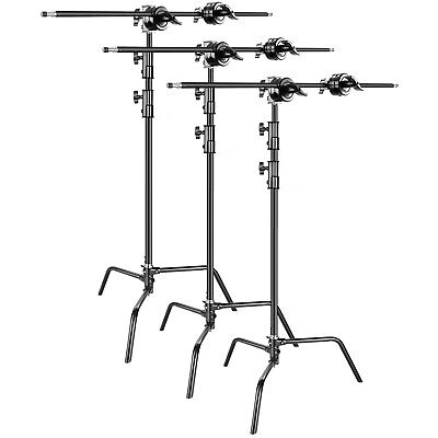 3 Head Studio (Neewer 3-pack Studio Heavy Duty Light Stand C Stand with Holding Arm, Grip)