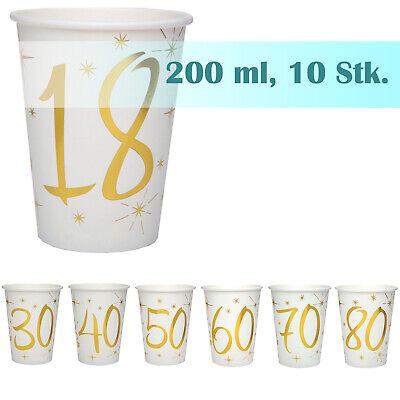 Papierbecher runder Geburtstag gold weiß 200ml 10 Stück, Partygeschirr Tischdeko