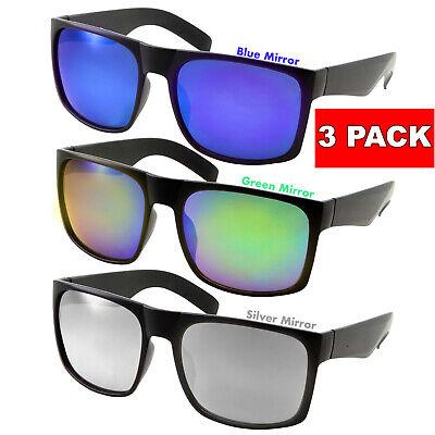 3 Pack XL Men's SUNGLASSES WIDE Big Head Color Mirror BLACK Glasses Extra Large - Wholesale Black Sunglasses