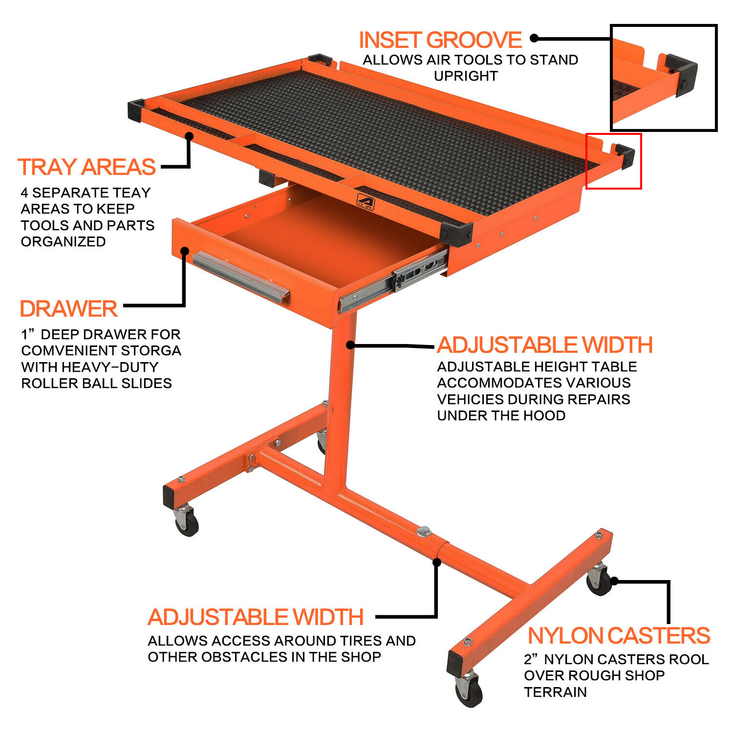 US Heavy Duty Adjustable Work Table Bench with Drawer,200 lb