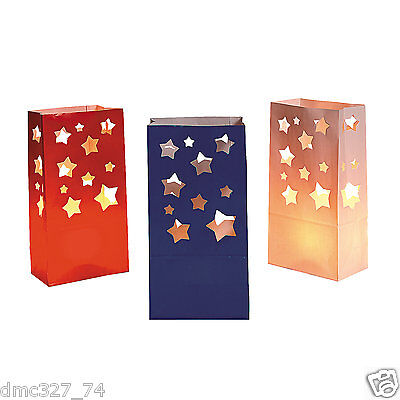 12 4th of July PATRIOTIC Party Decoration Pathway Walkway STAR LUMINARY BAGS - Paper Luminaries