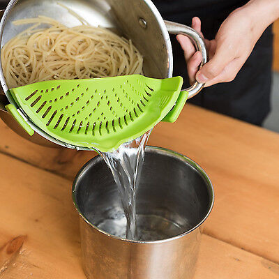 SNAP'N STRAIN *Buy American* Clip-on Silicone Kitchen Pan Strainer